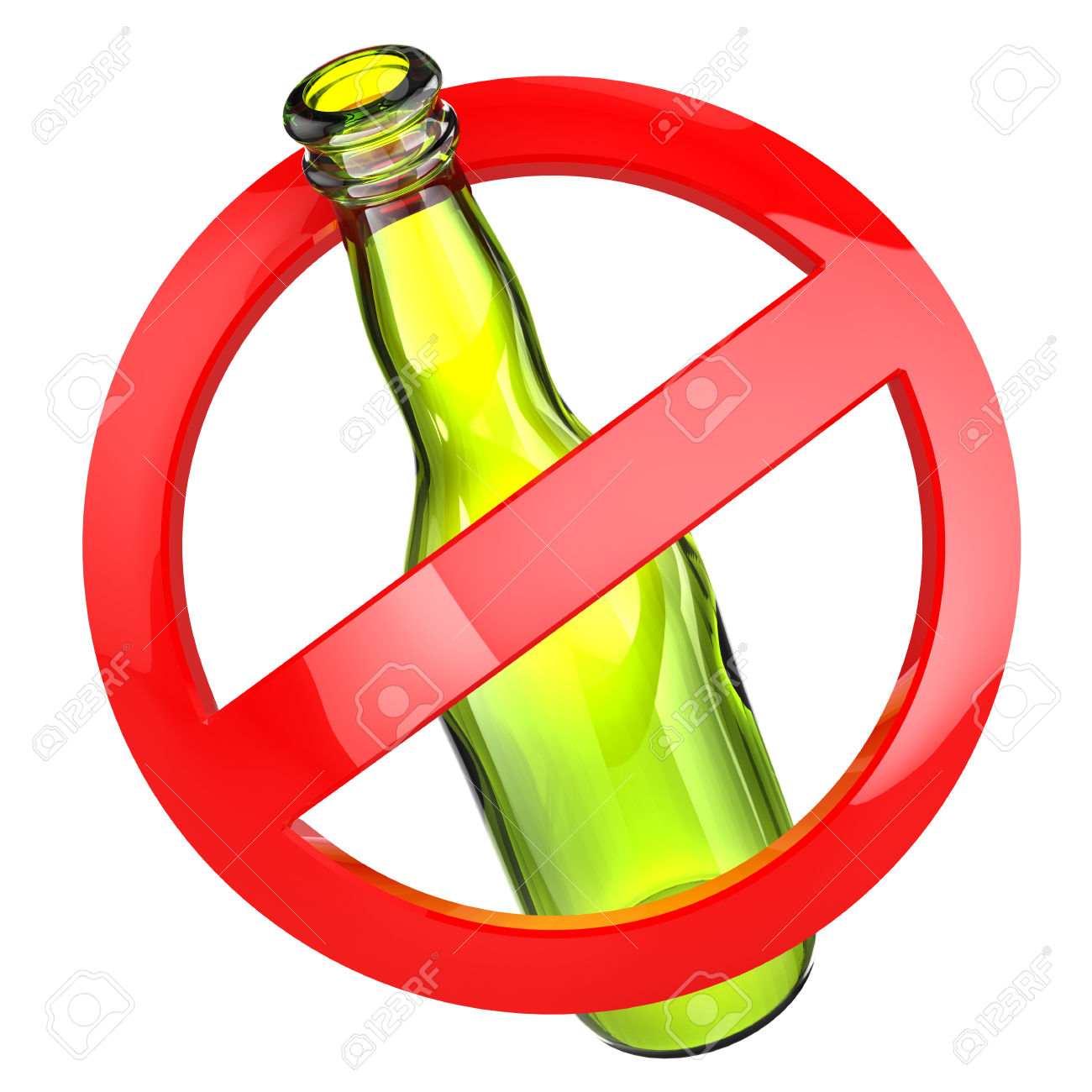 32939568 Stop alcohol or No glass sign Bottle on white isolated background Stock Photo